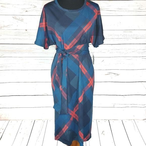 4ca2ea25565 Pretty Blue Plaid LuLaRoe Marly Dress 3XL